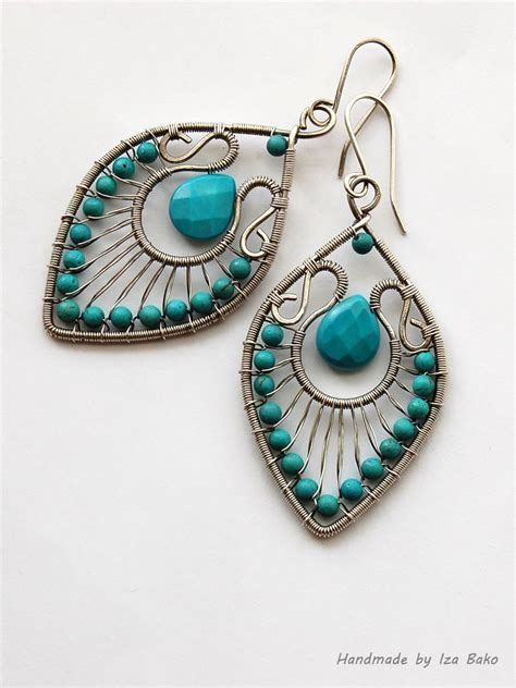 Handmade Wire Earrings - handmade wire wrapped statement earrings with turquoise