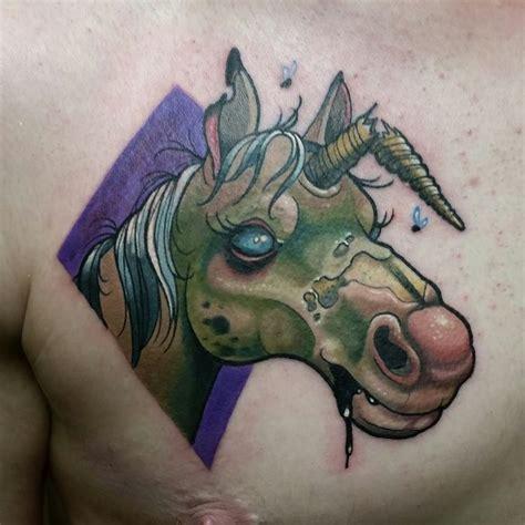 tattoo old school unicorn gothic unicorn tattoo on man chest