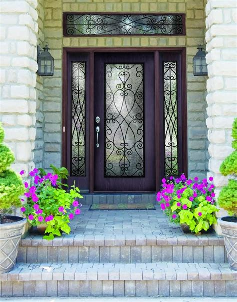 decorative glass door sidelights plastpro wrought iron priscilla fiberglass single door