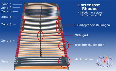 7 Zonen Lattenrost Einstellen by 7 Zonen Lattenrost Rhodos Klassisch 44 Leisten 90x200 Cm