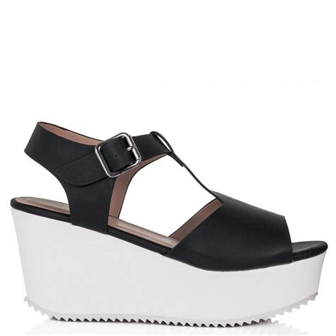 buy sandcast flatform platform sandal shoes black white