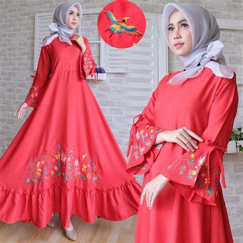 Gamis Muslim Bordir baju gamis modern crepe bordir busana muslim terbaru