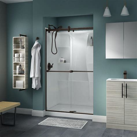 Delta Shower Door Delta Lyndall 48 In X 71 In Semi Frameless Contemporary Sliding Shower Door In Bronze With