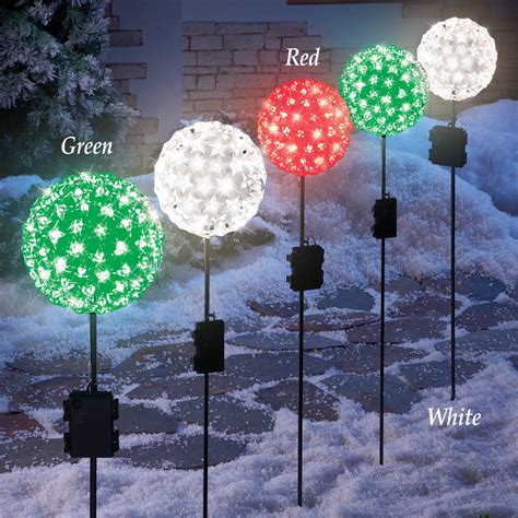 tall christmas light stakes starlight globe light stake yard garden lawn lights w timer ebay