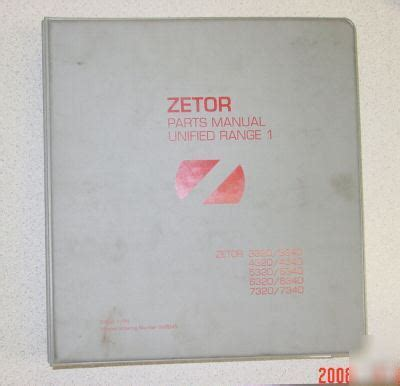 1996 Zetor Tractor Parts Manual Unified Range 1