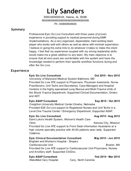 Beacon Health System Epic Go Live Consultant Resume Sle Laurelton New York Resumehelp Epic Resume Template