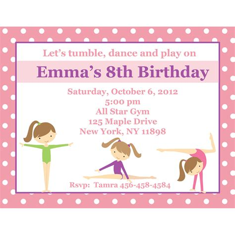 Gymnastics Invitation Personalized Party Invites | 20 personalized birthday invitations pink gymnastics