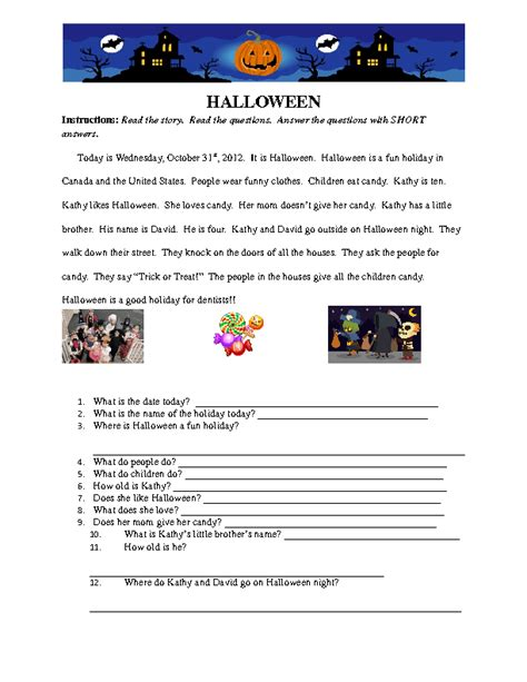 reading comprehension test beginner beginner level halloween reading