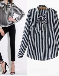 Baju Blouse Panjang Cewek Korea blouse korea garis garis lengan panjang 2016 jual