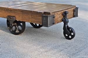 factory cart coffee table on sale vintage industrial factory cart coffee table in