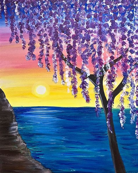 paint nite the tree paint nite willow tree sunset