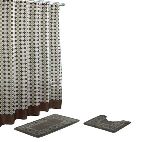 sage bathroom rugs bath fusion christine chocolate sage bath rug and shower curtain set 15 piece