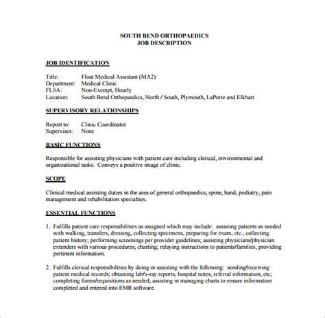 templates job description for medical office assistant yun56 co