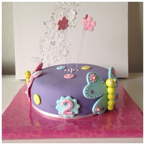 for two home made cake for 2 year all butterfly s in pastel