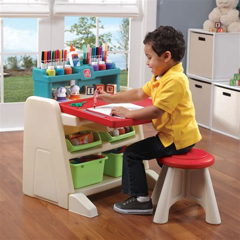 step 2 art table flip doodle easel desk with stool kids art desk step2