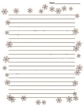 winter writing paper winter snowflake border lined paper by vault tpt