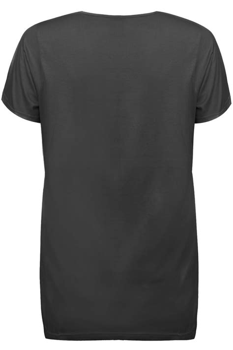Black Basic Shirt black plain basic sleeved v neck t shirt plus size