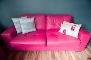 free image of stylish pink leather sofa