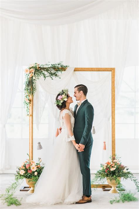 Wedding Backdrop Frame by Gold Frame Wedding Backdrop Accented With Rustic Flowers