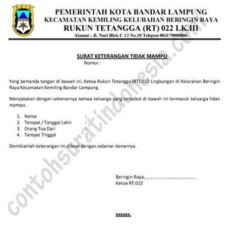 Contoh Surat Izin Susulan Tidak Masuk Sekolah by Contoh Surat Keterangan Tidak Mu Dari Ketua Rt