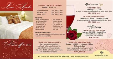 valentines packages fresh promos richmonde hotel ortigas packages