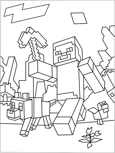 free coloring pages of minecraft skin