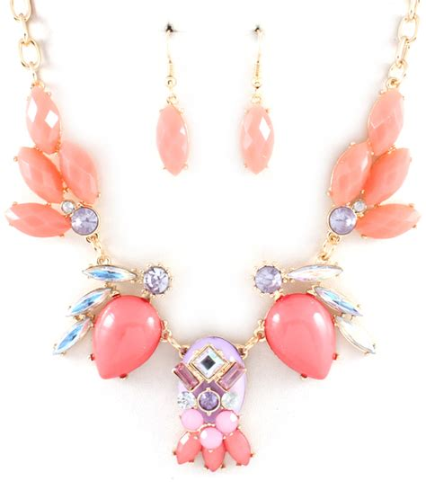 coral statement necklace earring set 183 vannic boutique
