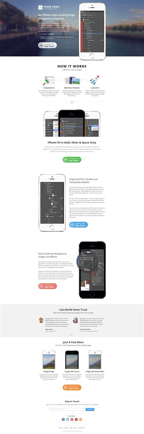 Iphone App Landing Page Psd Website Templates On Creative Market Iphone App Landing Page Template
