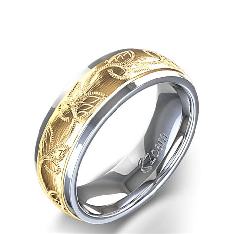 Scroll and Leaf Design Carved Men's Wedding Ring in 14k