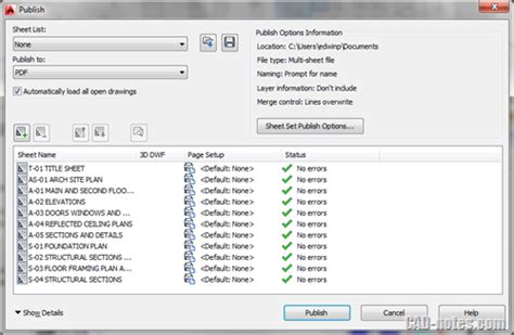autocad publish command layout not initialized how to create pdf from autocad drawings cadnotes