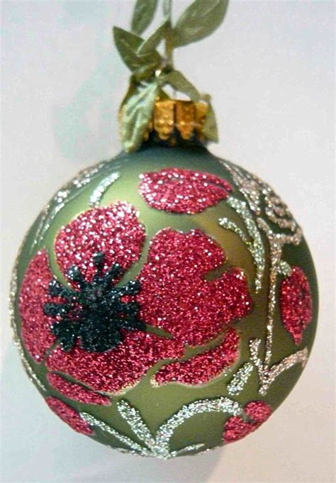 glitter poppy glass ornament by karcreations on etsy 23