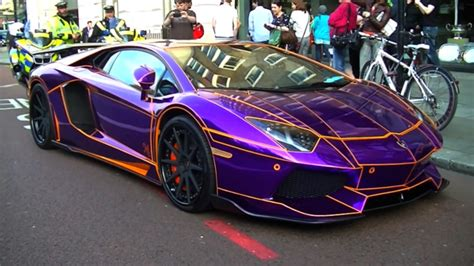 what color car gets pulled the most lamborghini aventador purple and orange cars