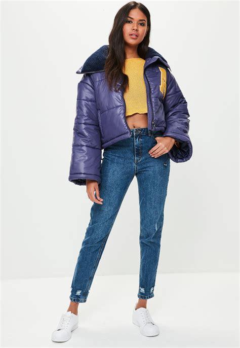 Jaket Crop Navy Jaket Hoodie Wanita Sweater Hoodie Diskon lyst missguided navy cropped padded jacket in blue