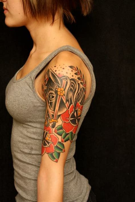 traditional quarter sleeve tattoo mic guitar and rose tattoo on right half sleeve by pxa