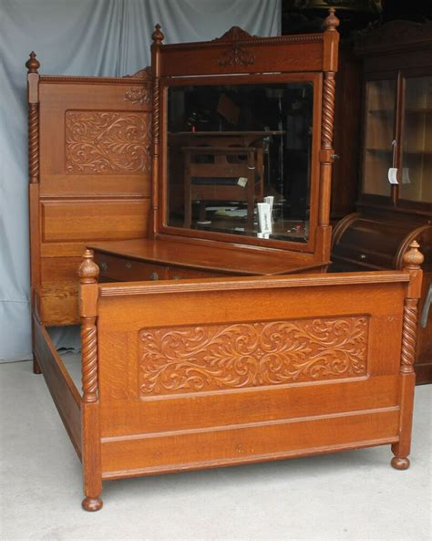 bedroom dresser set antique carved oak two bedroom set bed and dresser with mirror ebay
