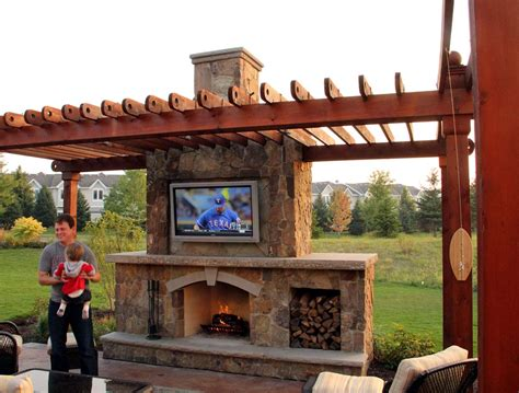 Outdoor Fireplace With Tv by Rustic Outdoor Living Room Ground One