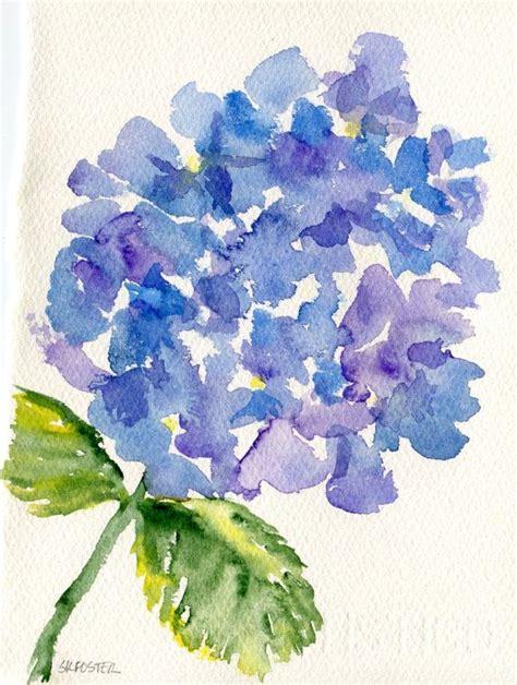 purple blue hydrangeas watercolor painting original 5 x 7 original watercolor painting blue