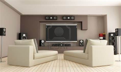 living room with home theatre system rendering