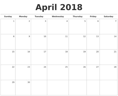 2018 Monthly Calendar Printable April 2018 Blank Monthly Calendar