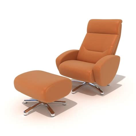 modern reclining chair modern orange reclining chair with footrest 3d model