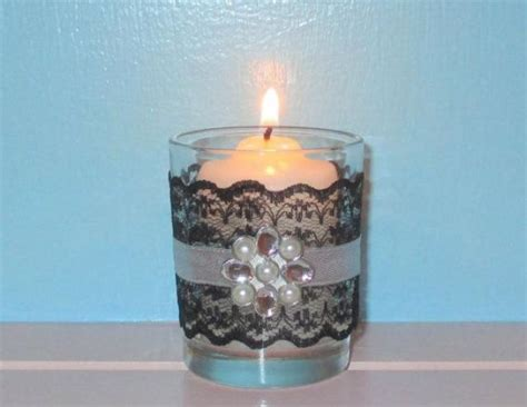 votive candle holder bling wedding decor black and