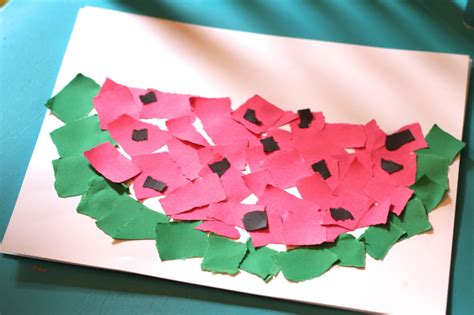 Watermelon Paper Craft - simple summer craft ripped paper watermelon the