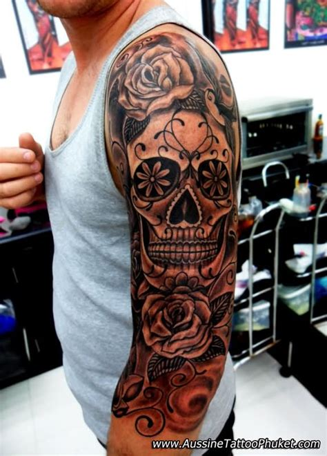 mexican skulls and roses sleeve 43 mexican gangster skull tattoos