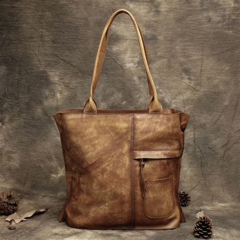 handmade vintage leather handbags top grain leather tote