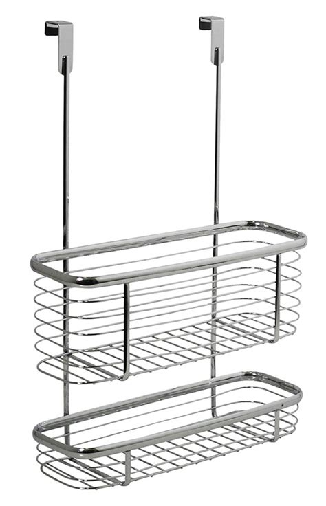 Cabinet Door Storage Basket Axis Chrome Cabinet Storage Basket And Tray In Cabinet Door Organizers
