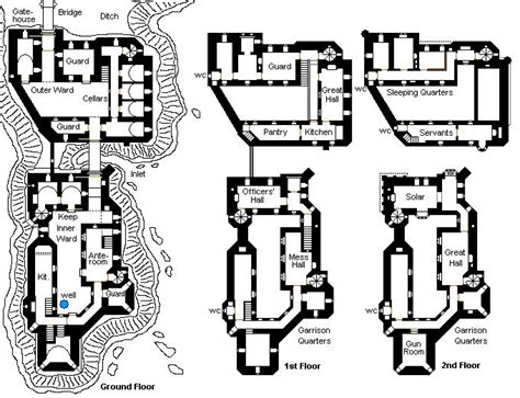 fantasy castle floor plans inner keep outer keep without a large curtain wall on