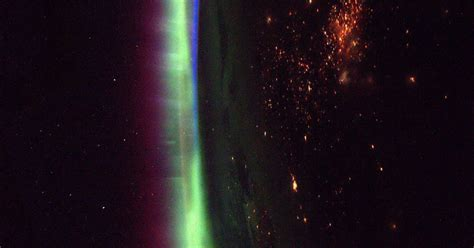 northern lights from space astronaut snaps beautiful picture of the northern lights