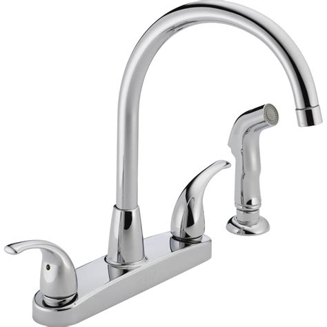 peerless kitchen faucets shop peerless chrome 2 handle deck mount high arc kitchen faucet at lowes