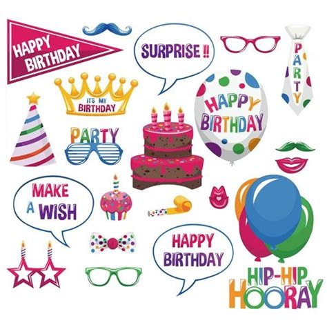 Kacamata Happy Birthday pack of 22 happy birthday card photo booth props on sticks