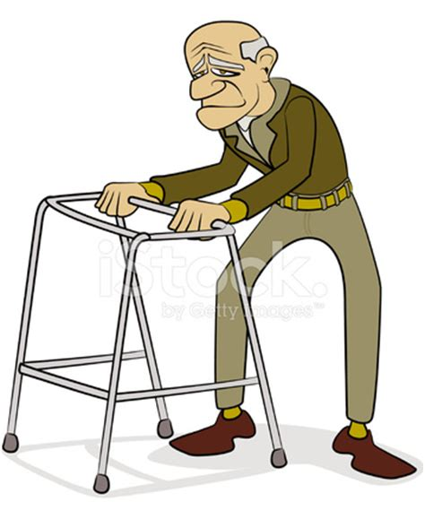 old man with walking frame cartoon stock vector